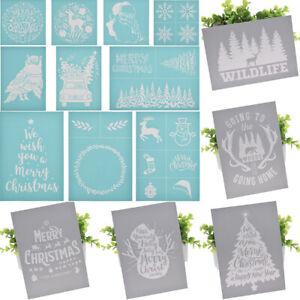 DIY Christmas Theme Silk Screen Printing Mesh Transfers Stencil Craft Xmas Decor