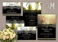 Personalised Wedding Evening Day Invitations Black Lace effect