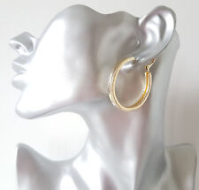 Gorgeous 4cm gold tone round chunky square tube patterned hoop earrings