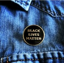 Black Lives Matter Enamel Lapel Pin Badge Gold-Black 1'' - (Restocked)