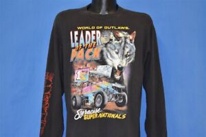 vtg 90s SYRACUSE SUPER NATIONALS OUTLAW DIRT RACING WOLF LEADER PACK t-shirt L