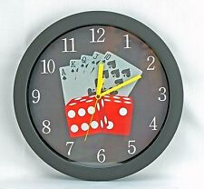 New! The Colorful Royal Flush Card Playing 11.5 Inch Quartz Wall Clock-62223