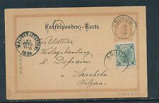 2 Kreuzer Ganzsachen-Karte 1894 aus Grulich + ZF nach Belgien  19/5/15