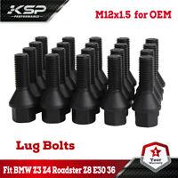 Genuine 5pcs M12x1.5 Black Wheel Lugs Bolts Nuts BMW X5 E53 X1 E84 E81 E60 E39