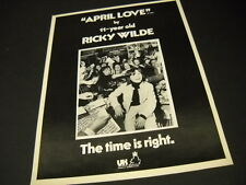 RICKY WILDE time is right for the 11-year old.. 1973 PROMO POSTER AD mint cond