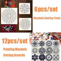6/12Pcs Mandala Painting/Dotting Stencils For Painting Wall Floor DIY Decoration