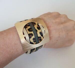 Ladies Leopard print bracelet,leather cuff style,gold vintage buckle,5 sizes