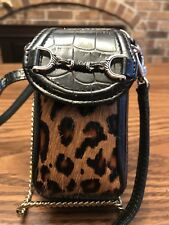 Brighton Crossbody Wallet Leopard Calf Hair Black Leather Fashionista Organizer