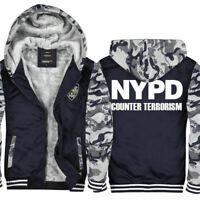 New York Police NYPD police Thicken Hoodie zip up Coat Jacket Winter Sweater HOT