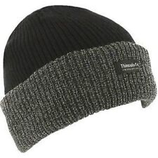 Mens Knitted Hat Thermal insulated Winter Wooly Chunky Beanie Black/Grey