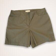 Talbots Womens Sz 14P Army Olive Green Elastic Back Waist Cotton Shorts  NWT