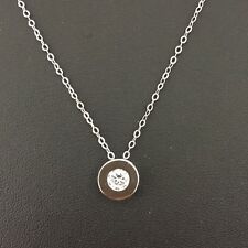 Sterling silver White Crystal pendant Sliver 925 coated W/Rhodium With Necklace