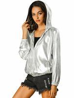 Allegra K Women's Long Sleeve Zipper Hooded Metallic Jacket