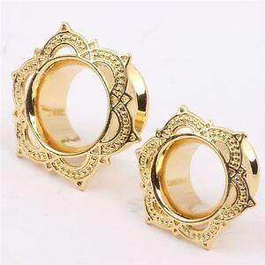 1 Pair Brass Lotus Gold Ornate Ear Plug Tunnel Tribal Cute Mandala Indian Flower