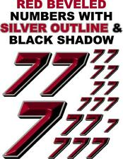 3-D Racing Numbers (7's) Red Beveled Decal Sticker Sheet 1/8-1/10-1/12 Rc Models
