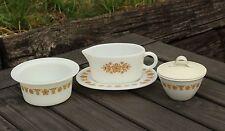 Vtg 70's Pyrex Gold Butterfly Gravy Boat & Underplate, Creamer, Butter Tub Dish
