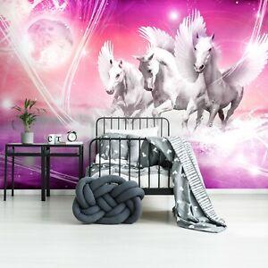 Fototapete Kinderzimmer Einhorn Pegasus auf rosa Hintergrund Tiere Fantasy 🦄