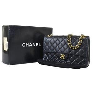 AUTH CHANEL CC DOUBLE FLAP MATELASSE CHAIN SHOULDER BAG LEATHER BLACK 651JC224