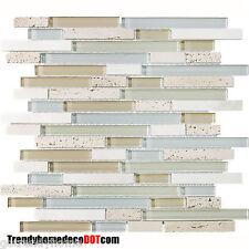 1-SF beige travertine Glass Mosaic Tile Backsplash Kitchen wall bathroom shower