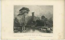 ANTIQUE RUINS OF THE FOUR SONS OF AYMON COWS HERDER LANSCAPE FOREST 1840S PRINT