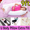 9ft Extra Fill Comfort U Pillow Body Back Support Nursing Maternity Pregnancy **