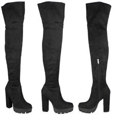 Womens Thigh High Boots Ladies Cleated Over Knee Heel Zip Platform Shoes Size