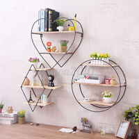 3 Layers Vintage Home Wall Unit Wood Metal Industrial Shelf Storage Holder