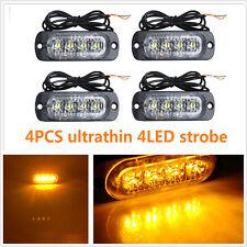 4X 4 LED  Ultra Slim  Surface Mount Flashing Strobe Warning Lights Amber Car Tru