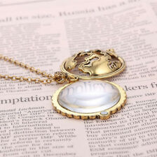 Steampunk Magnifying Glass Rhinstone Locket Necklace Pendant Monocle on Gold Cha