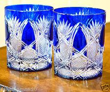 AJKA CZAR PATTERN DOF WHISKEY ROCKS GLASSES, COBALT BLUE CASED CRYSTAL