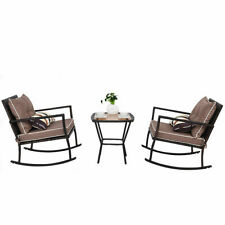 3 PC Patio Rattan Wicker Furniture Set Rocking Chair Coffee Table Cushions Home