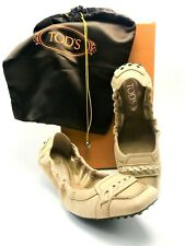 TOD'S Italian Beige Suede and Patent Leather Ballet Loafers in US SZ 6 - NEW!