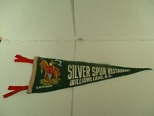 "Silver Spurs Restaurant Williams Lake BC Green Felt Pennant RCMP Logo 22"" Long"