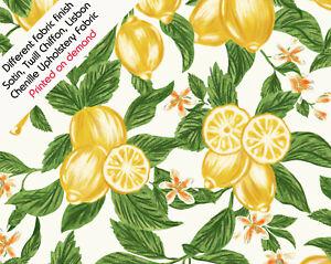 Lemon Fabric Fruit Citrus Print Summer Textile Satin Chiffon Chenille UK