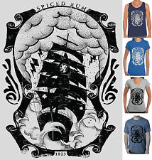 Pirate Spiced Rum Ship Sailing T-shirts Singlets men's size Retro Rockabilly New