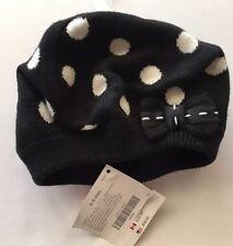 NWT Gymboree Polka Dot Puppy 0-3 Months Black & White Beret Sweater Hat