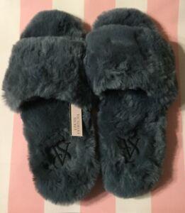 NEW Victorias Secret VS Open Toe Faux Fur  Gray Slipper Slide Sandal Large 9-10