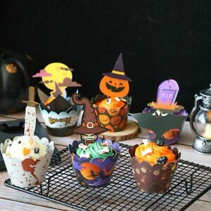 24Pcs Halloween Decoration Cupcake Wrapper Cup Muffins Horror Bat Cake Toppers.