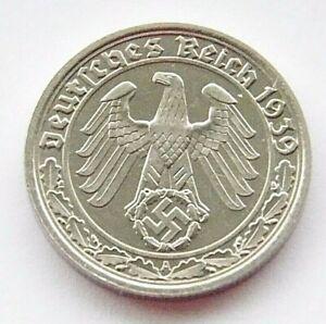 GERMAN 50 REICHSPFENNIG 1939 A SWASTIKA Nickel 3rd REICH WW2 +RARE+ Coin Pfennig