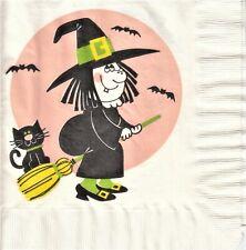 2 Lunch Papier Servietten Napkins (6-3)  Hexe mit schwarzer Katze - Cat - selten