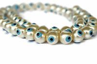 Set of 50 Evil Eye Beads - 10 mm Pearl Color Glass Beads - Pearl White Evil Eye