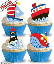PRE-CUT NAUTICAL MIX III. EDIBLE WAFER PAPER CUP CAKE TOPPERS PARTY DECORATIONS