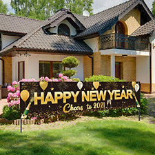 Happy New Year 2021 Banner, Large Fabric Black Gold Happy New Year Sign Banner x