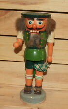 Vintage hand made wood nutcracker man with hat figurine