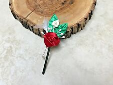 Flower Bud Groom Boutonniere Best Man Red Green Wire Works White Christmas Forma