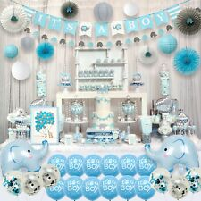Aj World Blue Elephant Baby Shower Decorations for Boy Party Supplies Kit