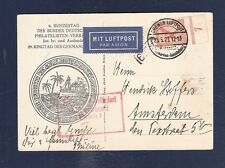 16 Germany early air mail postcard 1929 Bemen to Holland