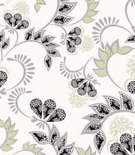 Lime White Black Silver Ornament Wallpaper Designer Feature wall