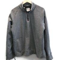 Cremieux Club 38 Mens Sz L 1/4 Zip Pullover Gray Side Hidden Zip Pocket Poly