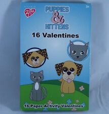 16 Count Puppies & Kittens Paper Activity Valentines Day Cards Origami Cat & Dog